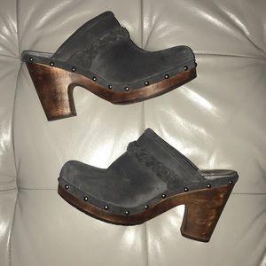 UGG Kaylee Studded Suede Clogs Wood Heel